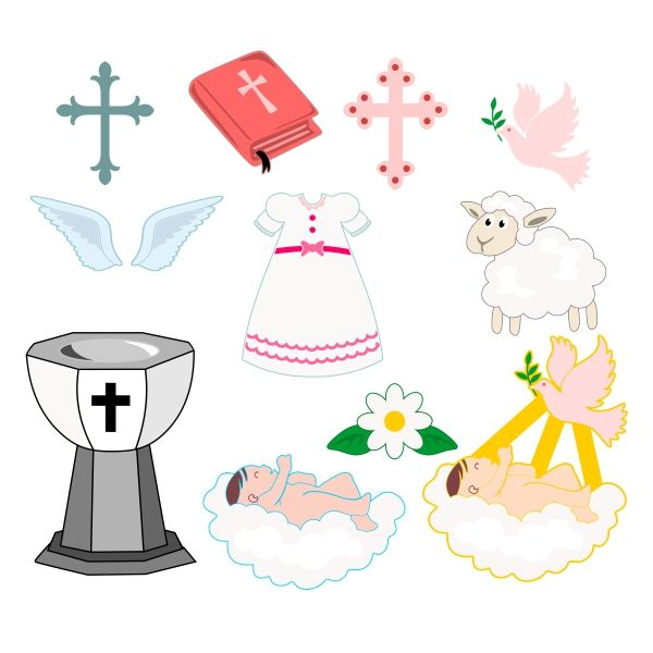 600x600 Baptism Pack Cuttable Design Cut File. Vector, Clipart, Digital