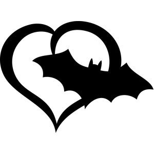 300x300 Bat Halloween Heart Filing, Facebook And Silhouette