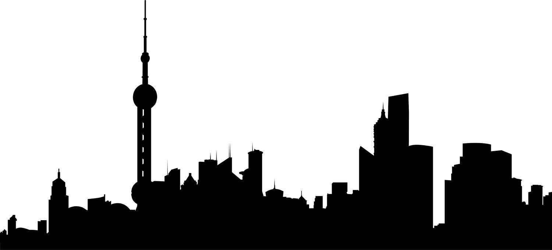 1500x680 City Skyline Shanghai Svg Clipart, International City Digital