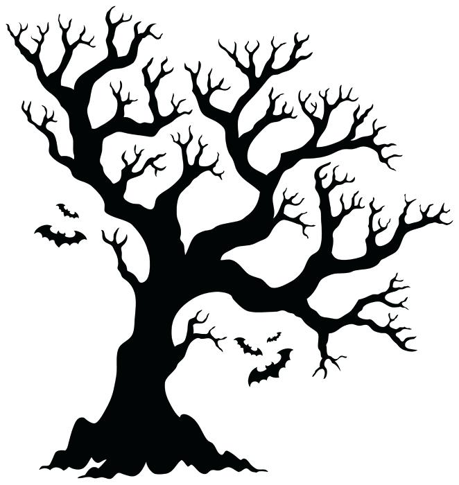 662x700 Black Halloween Tree Silhouette Tree With Bats Vinyl Wall Mural