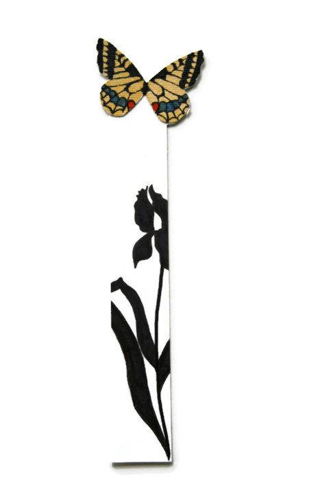 467x700 Butterfly Bookmark Iris Silhouette Yellow Handmade