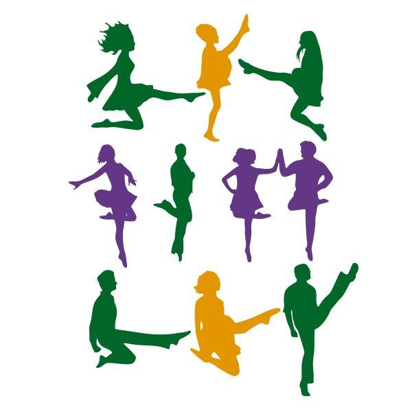 600x600 Irish Dancer Silhouette Cuttable Design Cut File. Vector, Clipart