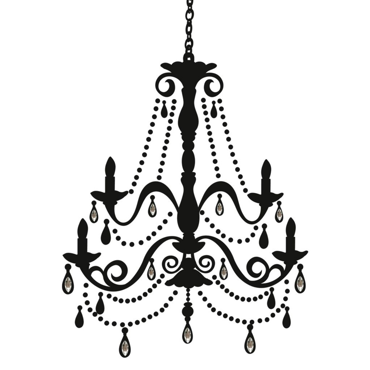 1200x1200 Elegant Chandelier Silhouette Giant Wall Decal Removable Decor