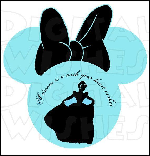 570x592 Cinderella Silhouette Minnie Mouse Head Ears Digital Iron