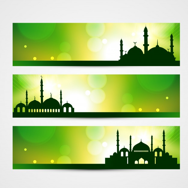 626x626 Green Islamic Banners Vector Free Download
