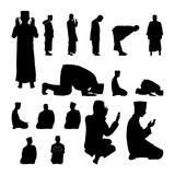 160x160 Arabian Man Perform Salah Islamic Muslim Prayer Silhouette Stock