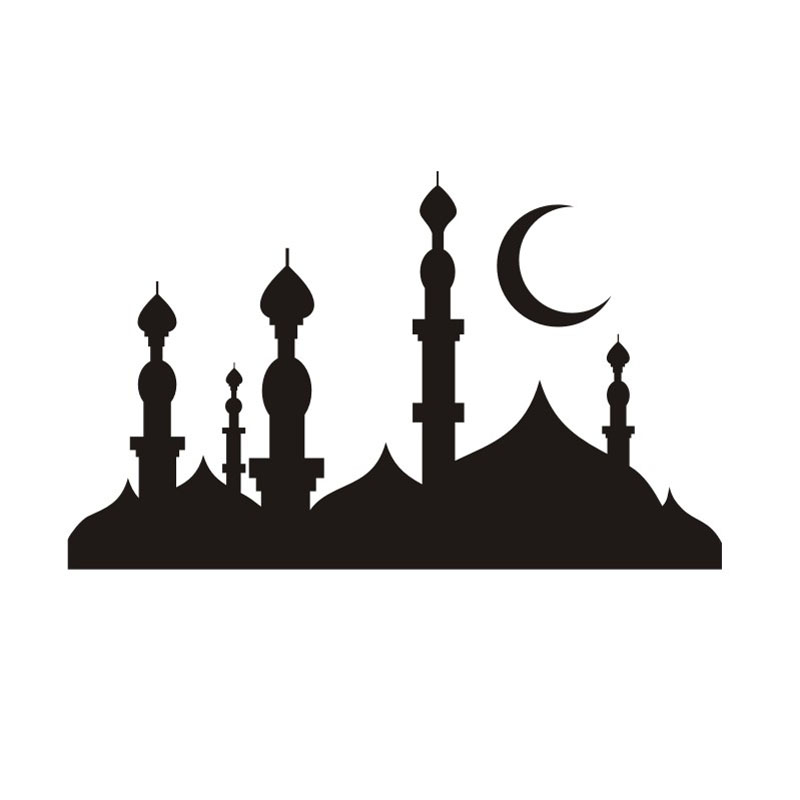 800x800 Mosque Minarets Silhouette Wall Art Wall Sticker For Living Room