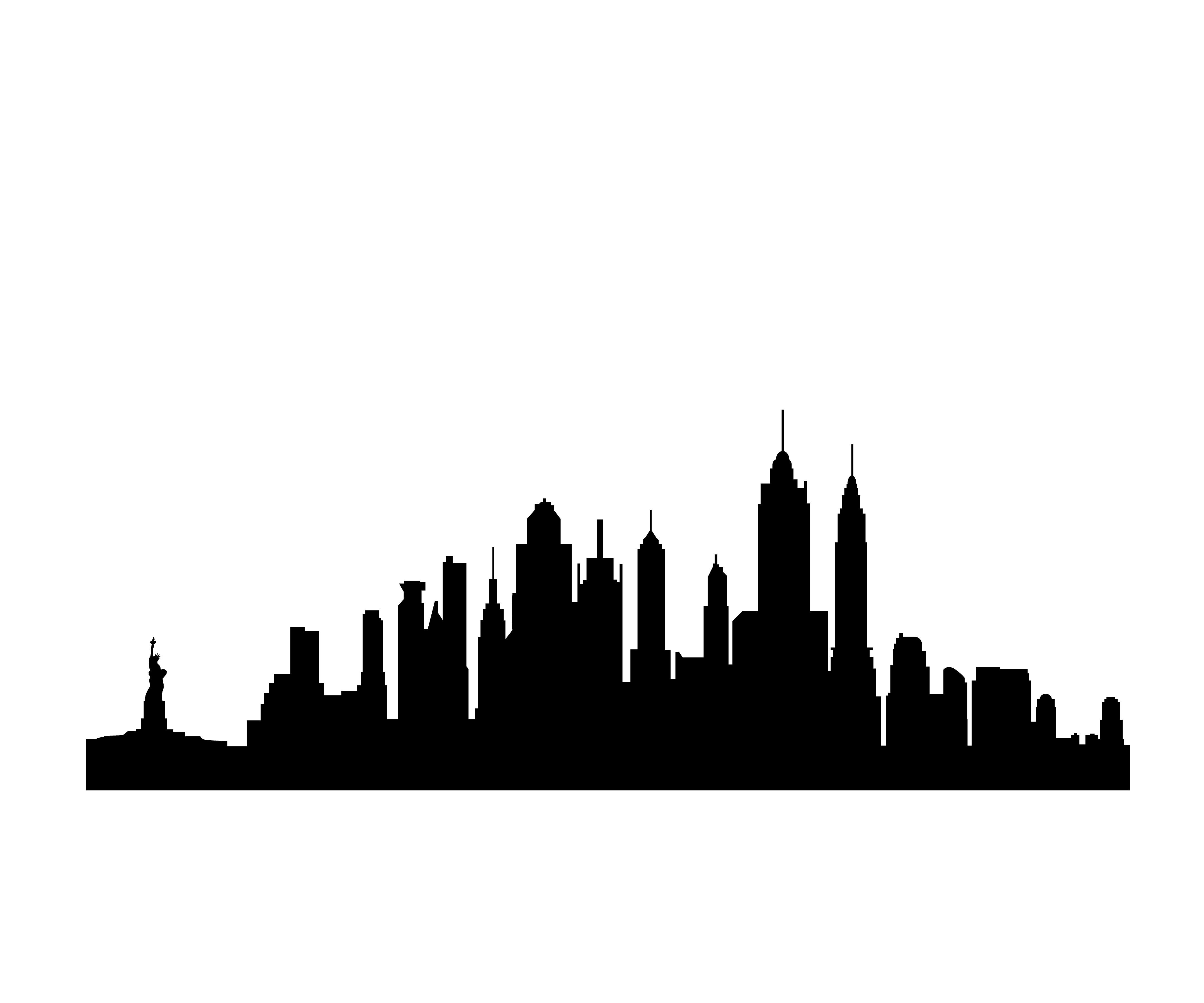 4320x3600 New York Skyline Black And White Silhouette
