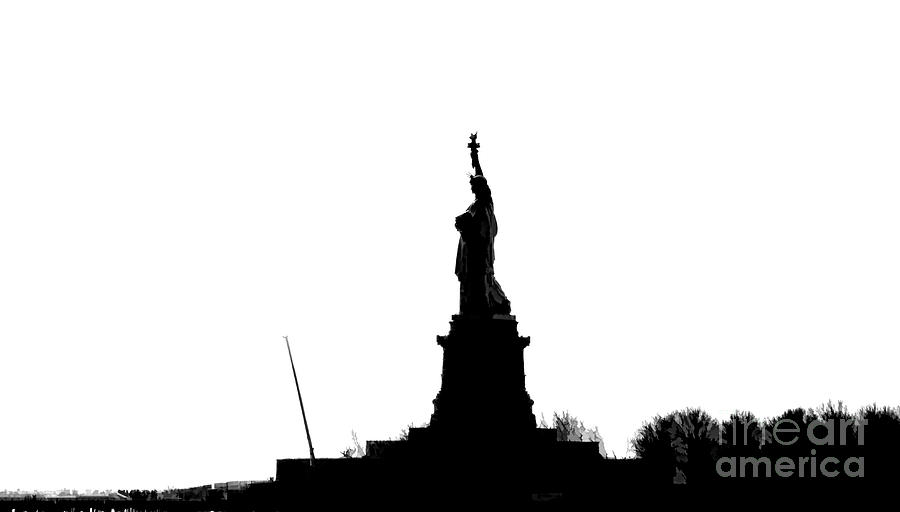900x512 Silhouette Statue Of Liberty Ellis Island Photograph By Chuck Kuhn