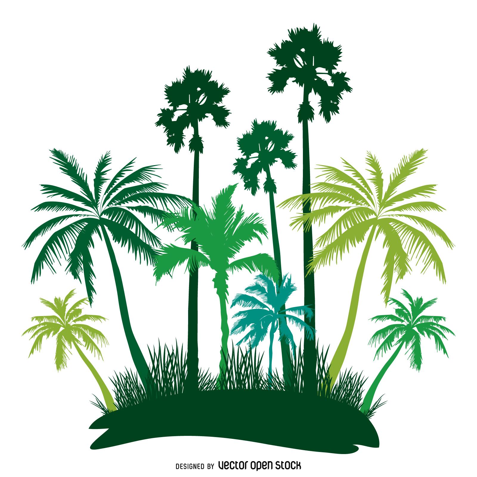1600x1600 Green Palm Trees Island Silhouette