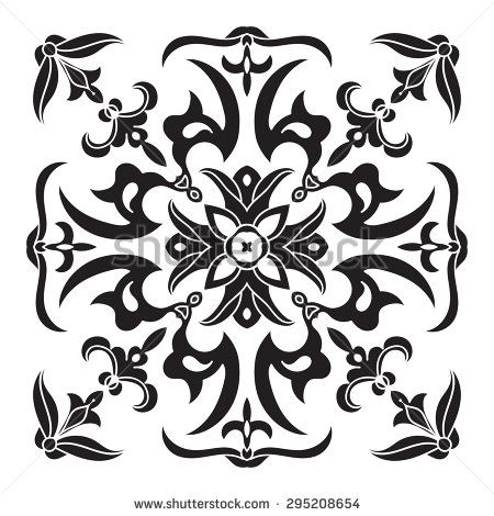 450x470 Hand Drawing Decorative Tile Pattern. Italian Majolica Style Black