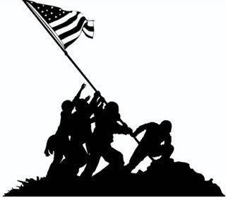 320x280 Iwo Jima Raising The Flag Decal