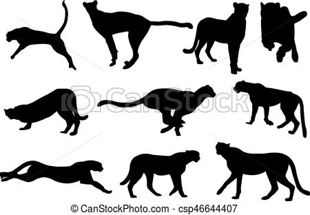 450x312 Cheetah Silhouette Vector Illustration Vector Clipart