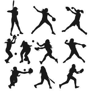 300x300 Softball Girls Silhouette Figures Cuttable Design Cut File. Vector