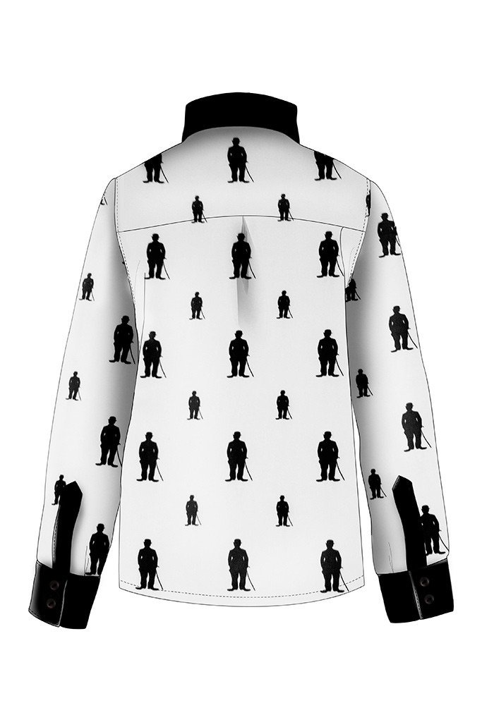 683x1024 White Cotton Boys Shirt With Charlie Chaplin Silhouette And Black