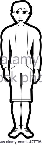 138x470 Black Silhouette Cartoon Full Body Woman With Jacket And Skirt