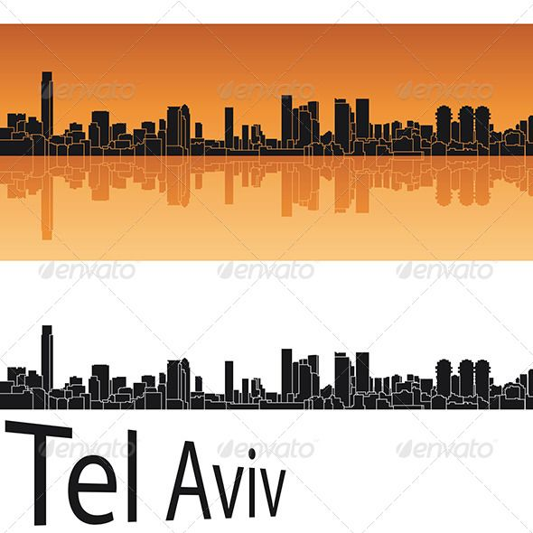 590x590 Tel Aviv Skyline In Orange Background Orange Background