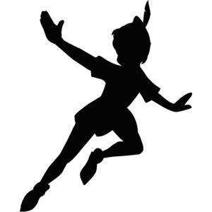 300x300 Peter Pan Flying Silhouette 12.25x15 Vinyl Decal Wall Art Cu