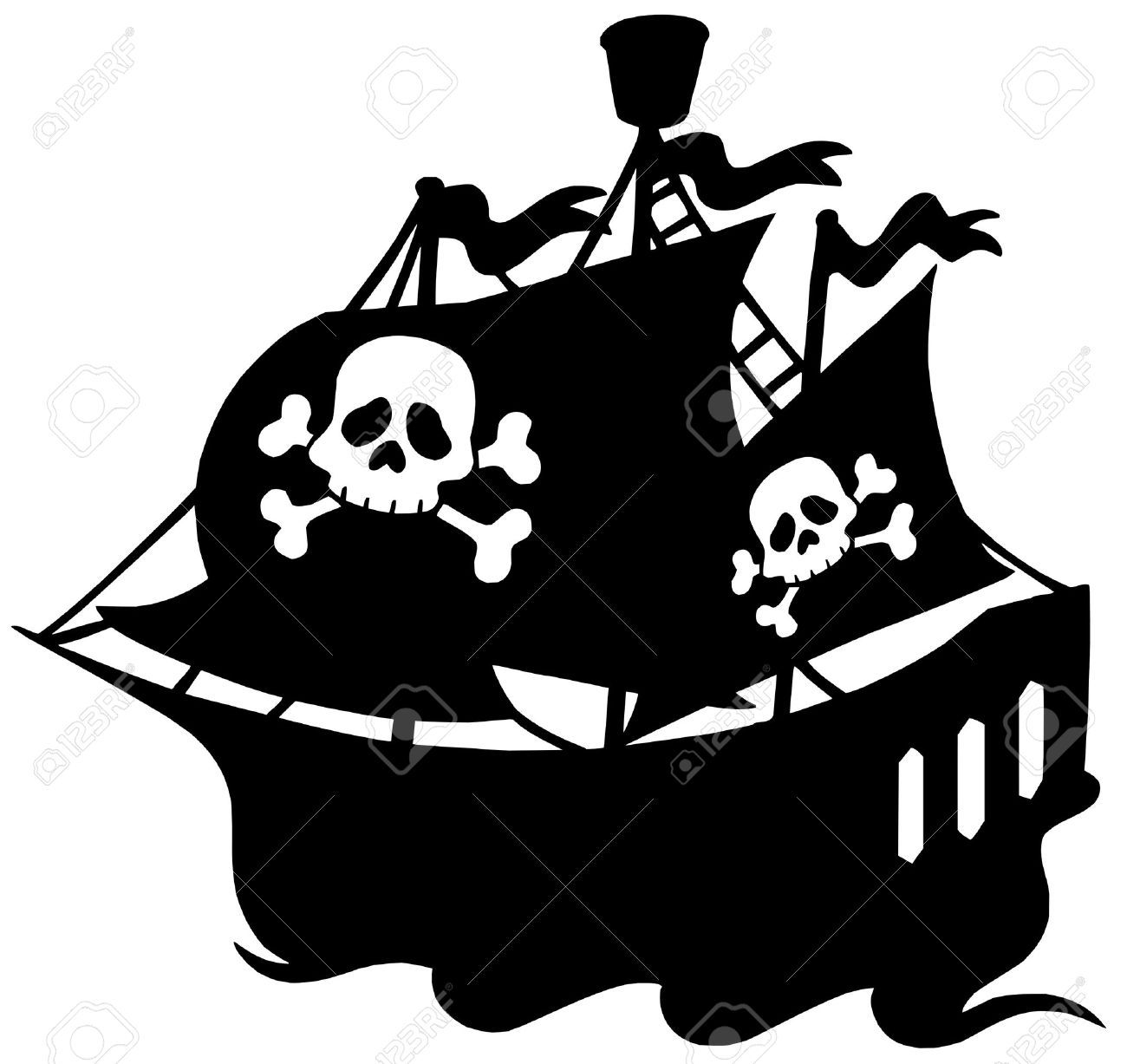 1300x1227 Pirate Ship Drawings Silhouette Clip Art