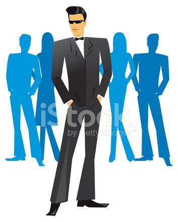 353x440 James Bond Tuxedo Man Clipart Vector Stock Vector