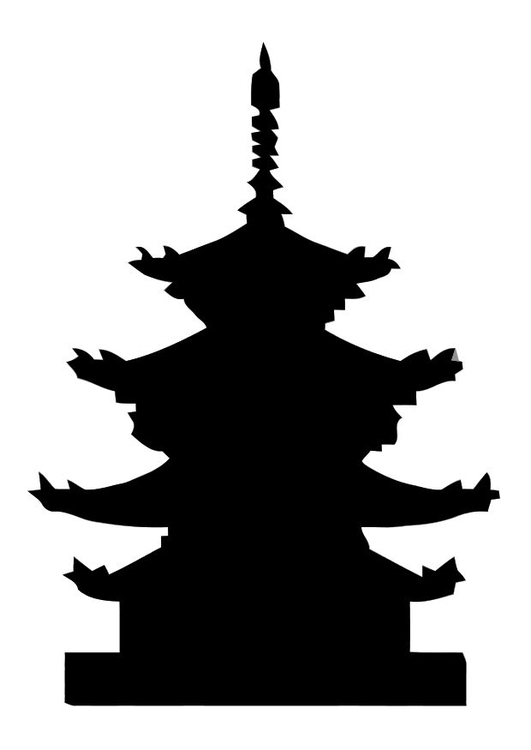 531x750 Coloring Page Pagoda