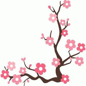300x300 Cherry Blossom Branch Silhouette Design, Cherry Blossoms
