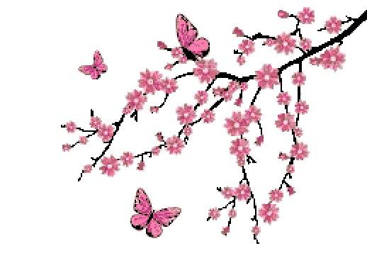 518x388 Cross Stitch Pattern Cherry Blossom Tree Branch