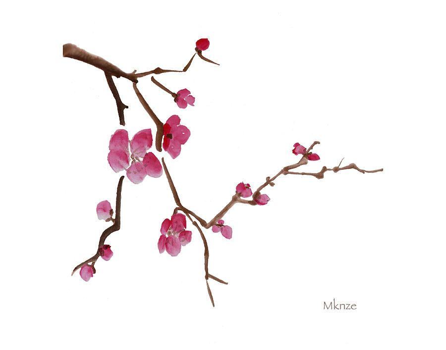 900x707 Japanese Ink Painting Cherry Blossom