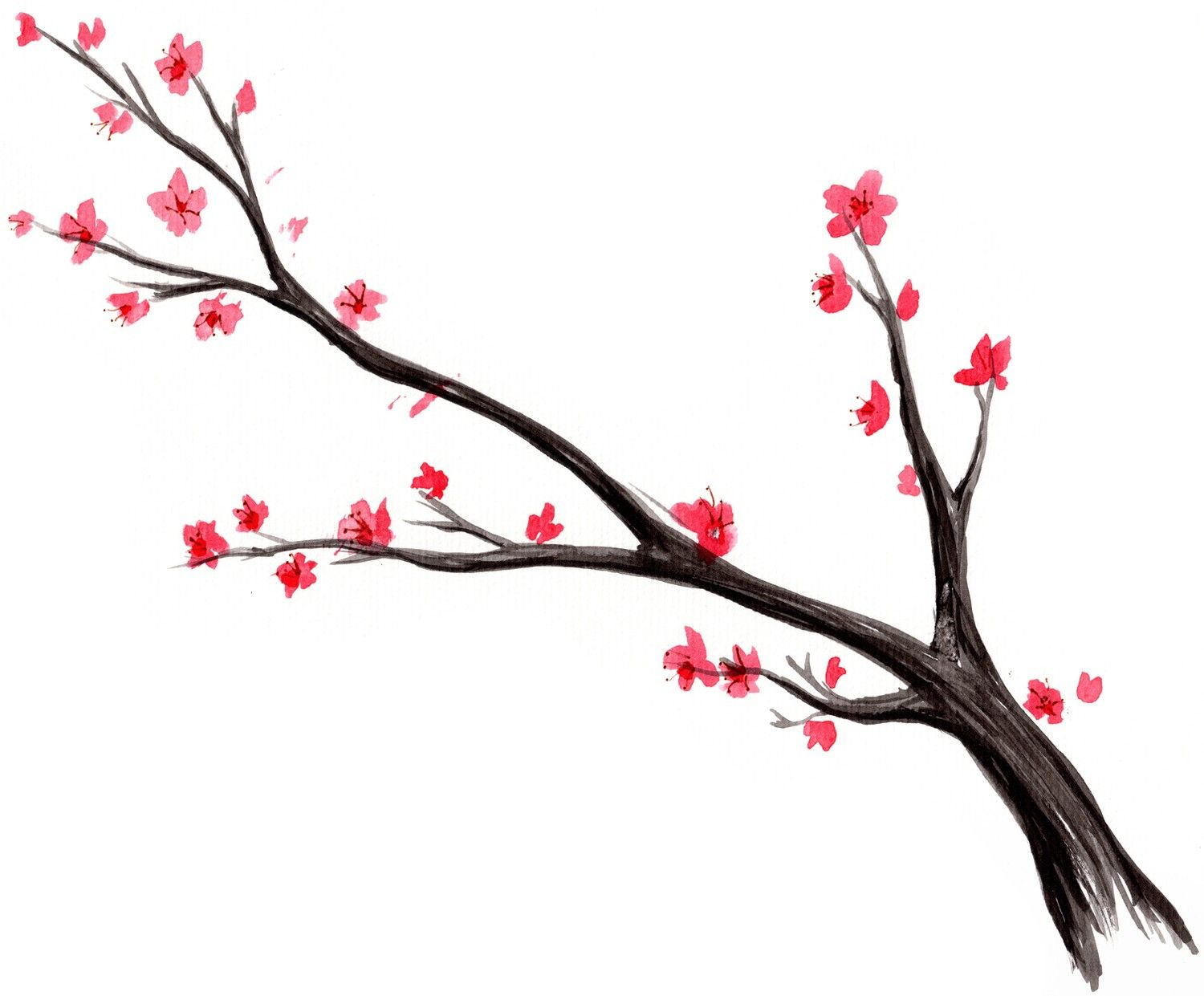 1500x1241 Add Birds Later Japanese Cherry Blossom Tree Watercolor 1 Print