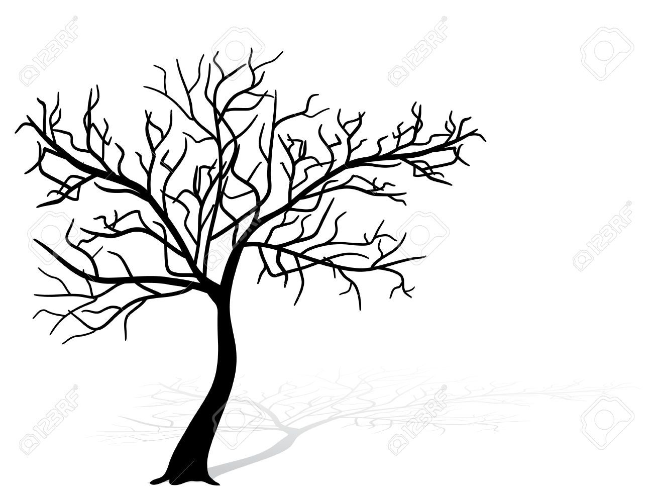 1300x975 Black Tree Silhouette (Tree, Cherry, Blossom) Silhouette