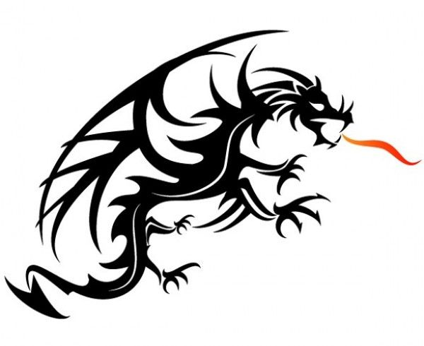 600x490 Fierce Vector Dragon Art With Flame