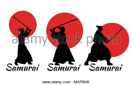 450x290 Japanese Samurai fighter silhouette Stock Vector Art
