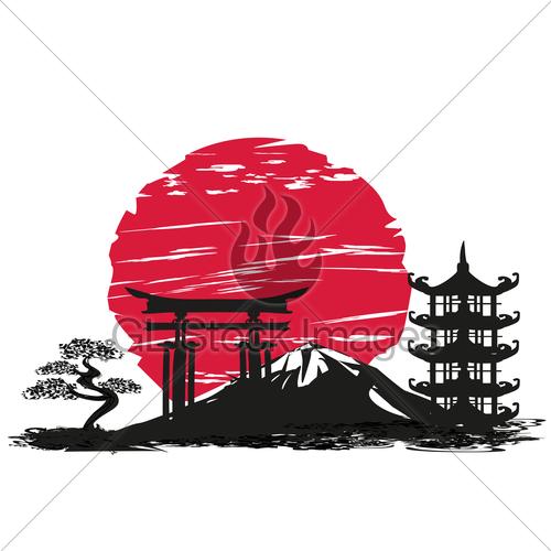 500x500 Abstract Card With Japanese Landscape · GL Stock Images