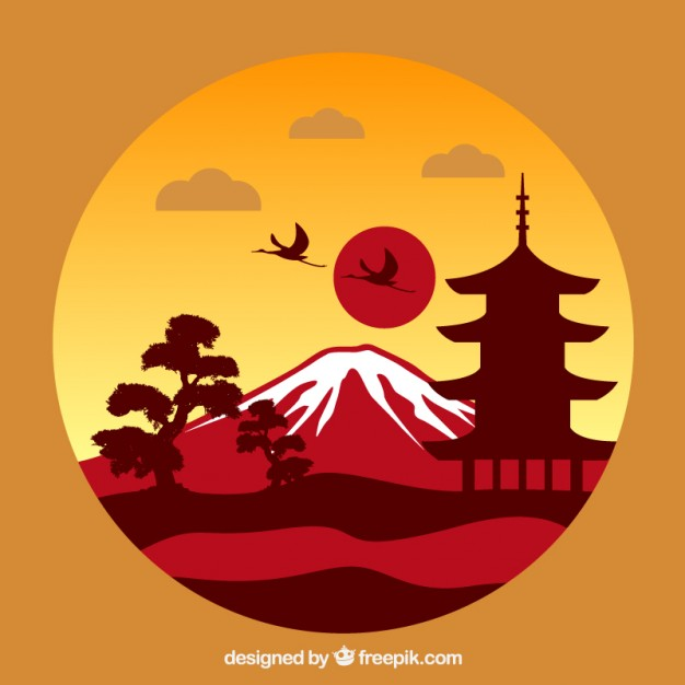 626x626 Japanese landscape Vector Free Download