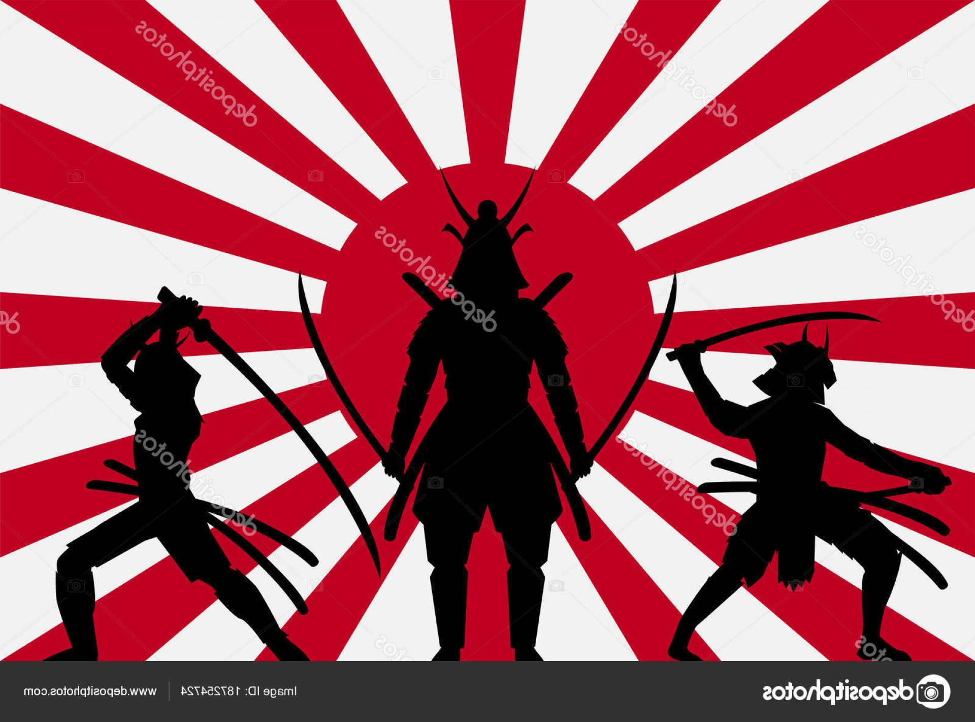 1920x1422 Stock Illustration Silhouette Samurai Rising Sun Japan CreateMePink