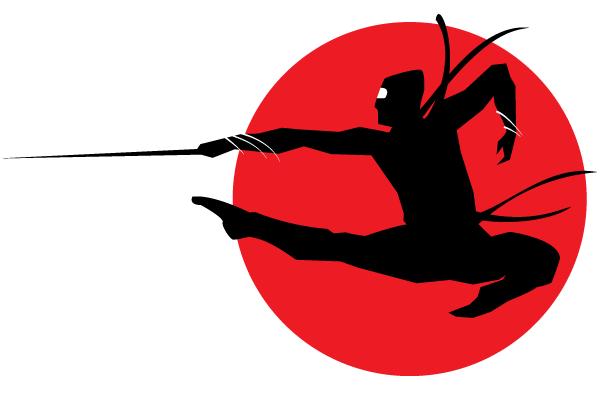 600x394 Free Ninja Silhouette Vector Image 123freevectors