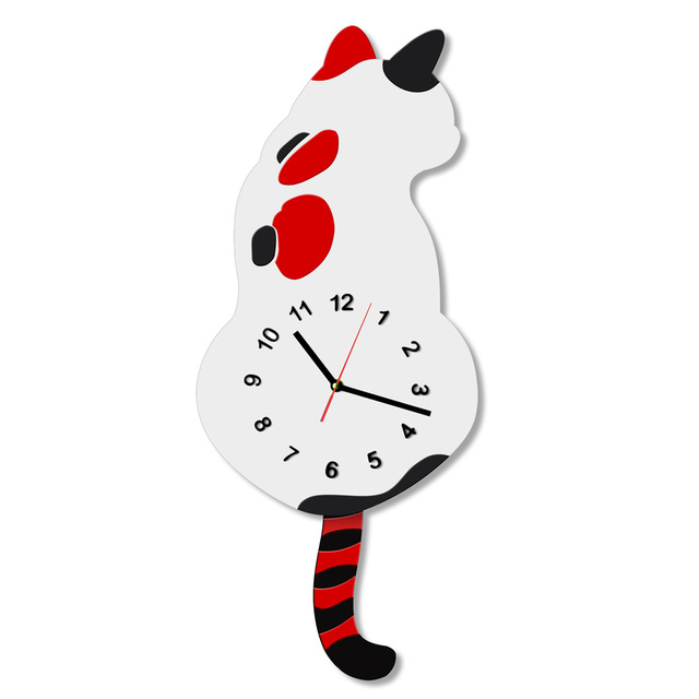 640x640 1piece Japanese Adorable Cat Wall Clock With Swishing Tails