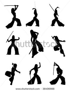 236x308 Silhouettes Of Dancers Of Japanese Theater Kabuki And Silhouettes