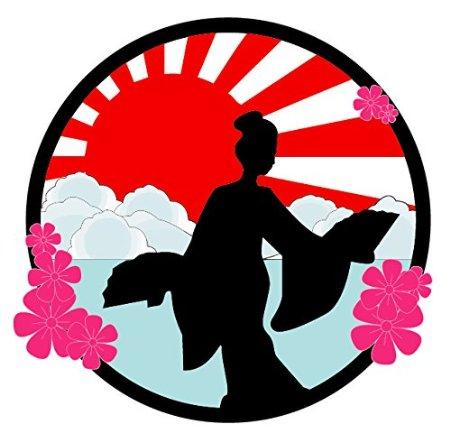 450x442 Buy Geisha Silhouette Sakura Flower Japanese Rising Sun Car Decal