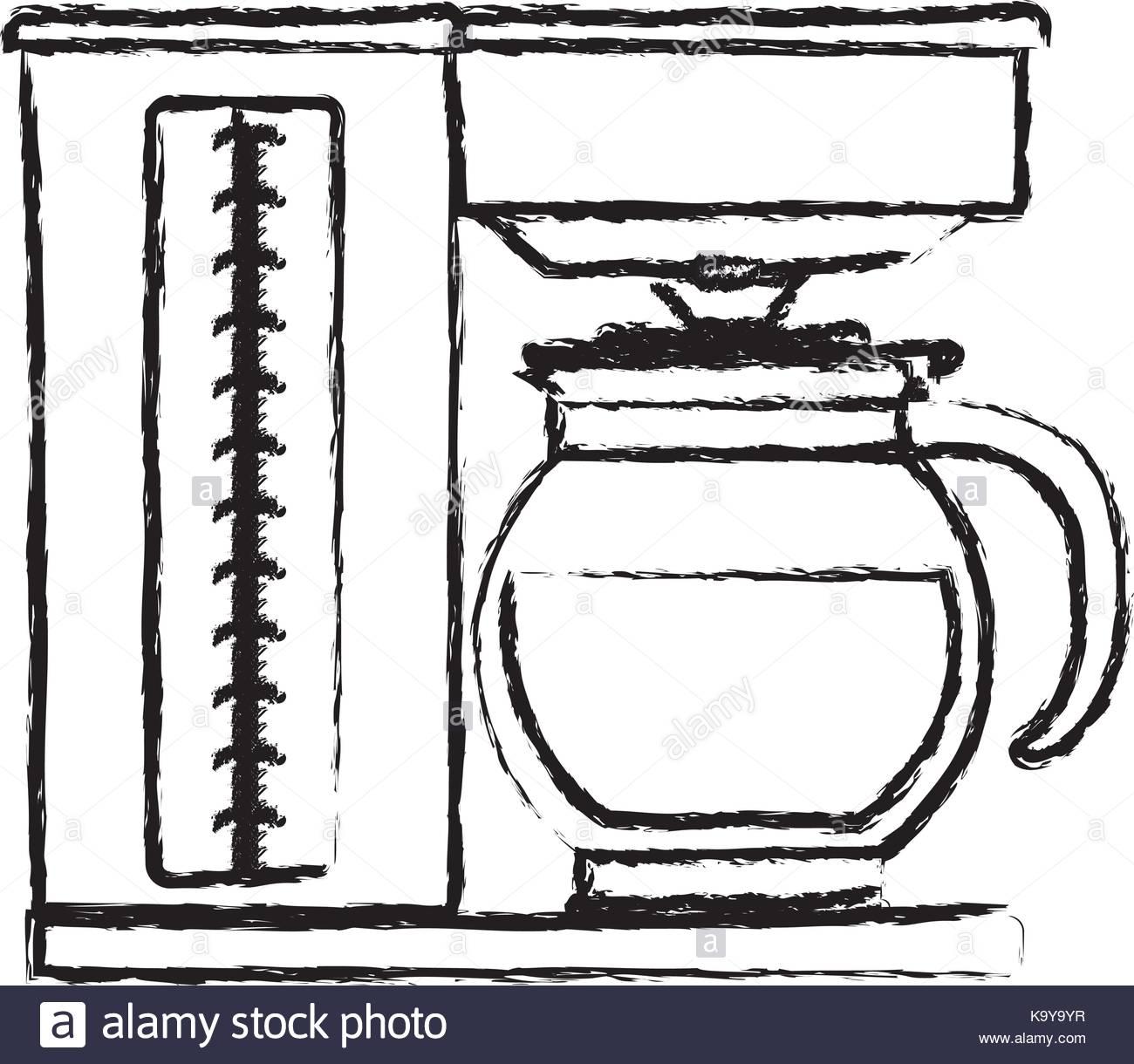 1300x1220 Coffee Maker With Glass Jar Silhouette Monochrome Blurred