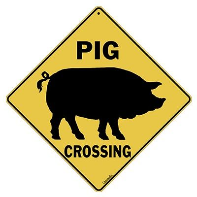 400x400 Pig Crossing Sign Aluminum Pigs Decor Picture Home Signs Novelty