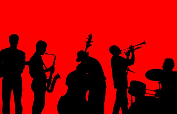 618x400 Jazz Band Performance ~ Silhouette Black On Red