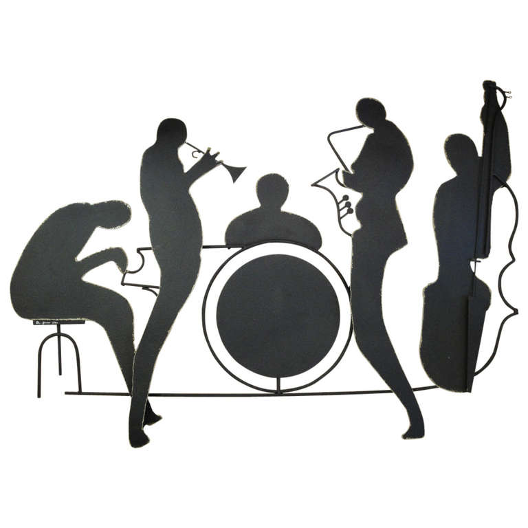768x768 signed jazz band metal wall sculpture by curtis jere for sale