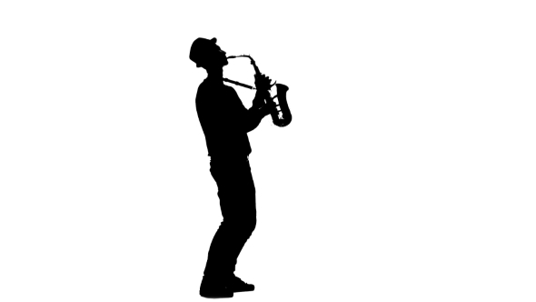 590x332 Jazz Melodies Performed By Young Musician. Silhouette On White