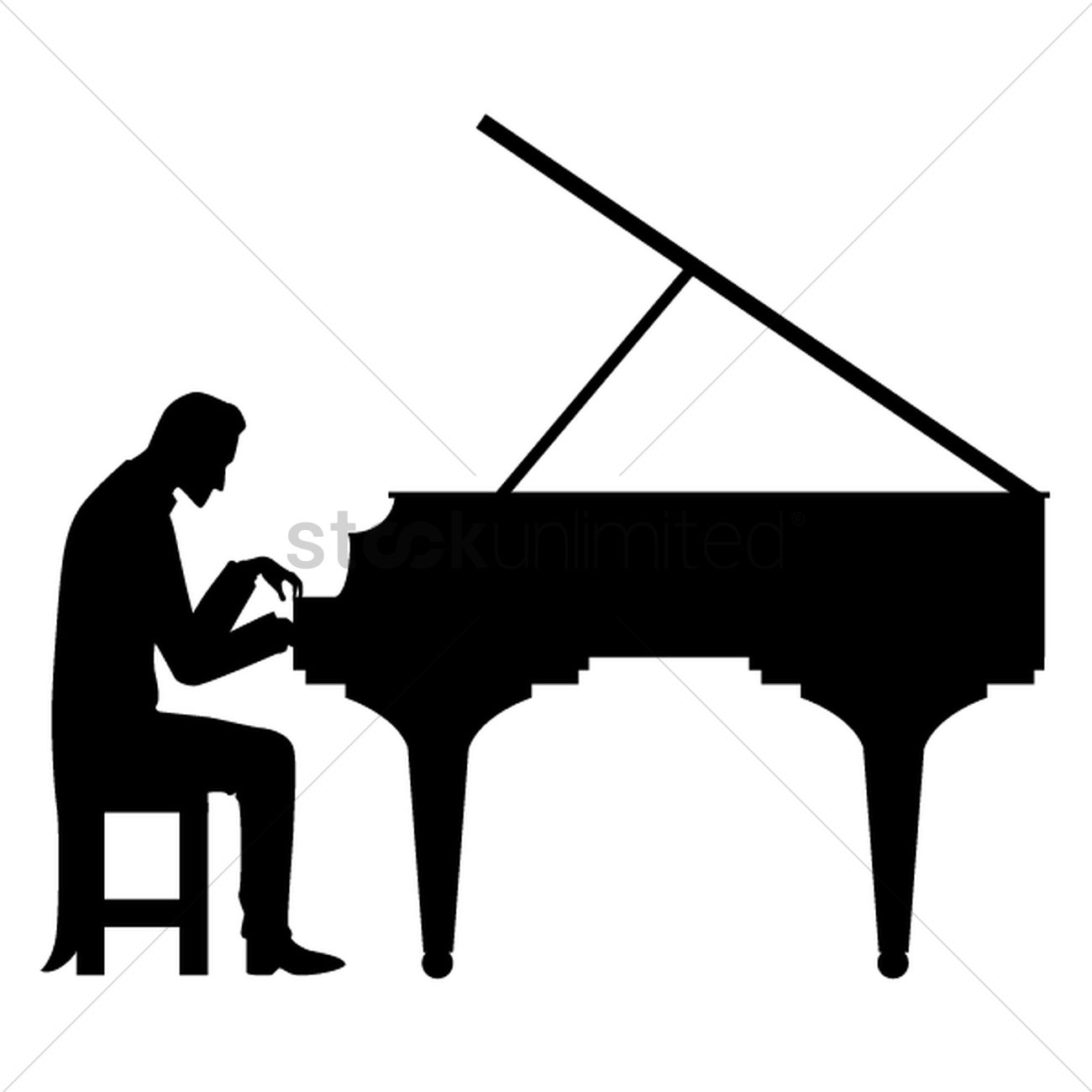 1300x1300 Silhouette Of Man Playing Piano Vector Image