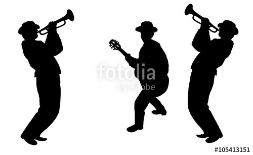 500x306 Trio Trumpeter Player And Guitar Player, Black Silhouette Isolated