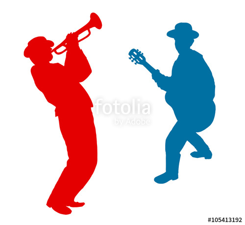 500x459 Trumpeter Player And Guitar Player, Jazz Man Silhouette Isolated