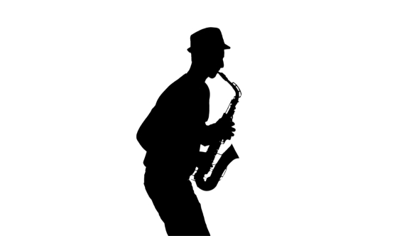 590x332 White Background In Studio. Silhouette Jazzman Performs Solo