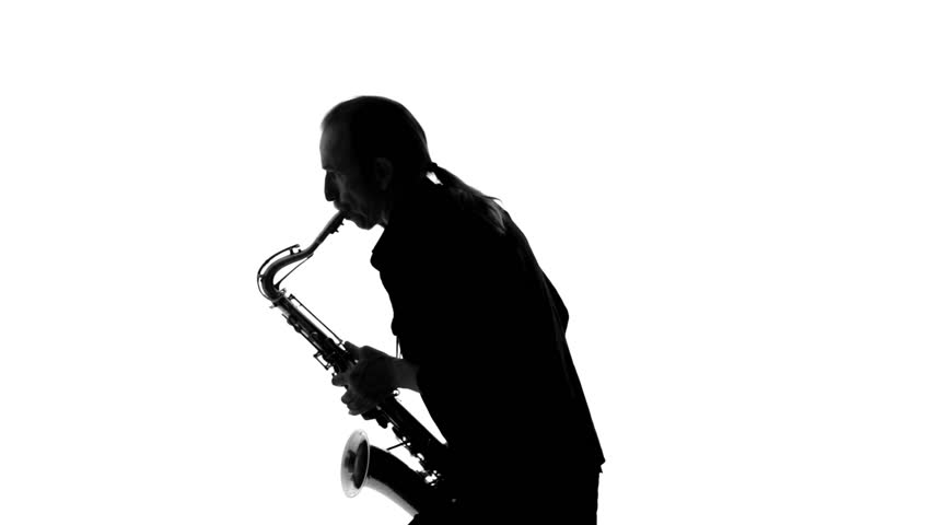 852x480 Close Up Of Dark Silhouette Of Saxophonist Playing His Musical