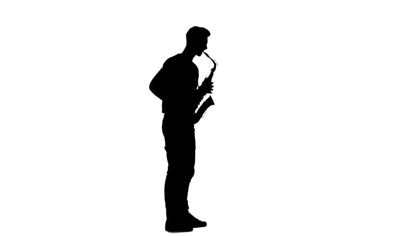 852x480 Jazz Melodies Performed By Young Musician. Silhouette On White